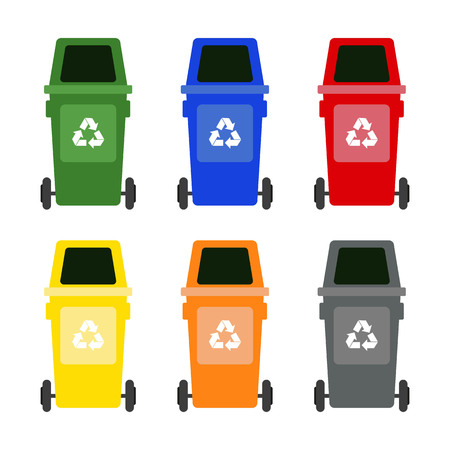 Set of colorful garbage cans on white background. Ecology and recycle concept. Vector Illustration.