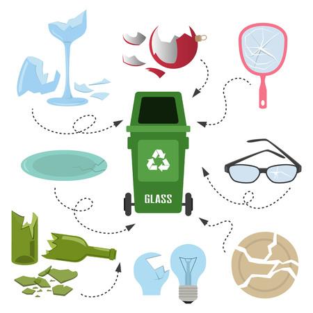 Contenedor con basura de vidrio sobre fondo blanco. Concepto de ecología y reciclaje. Ilustración vectorial