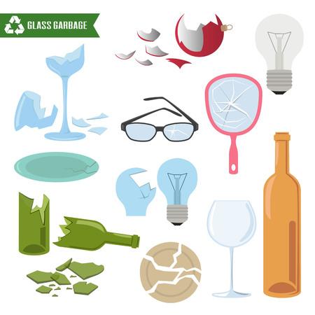Basura de vidrio sobre fondo blanco. Concepto de ecología y reciclaje. Ilustración vectorial