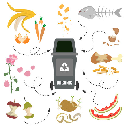 Container with organic trash on white background. Ecology and recycle concept. Vector Illustration. Illusztráció