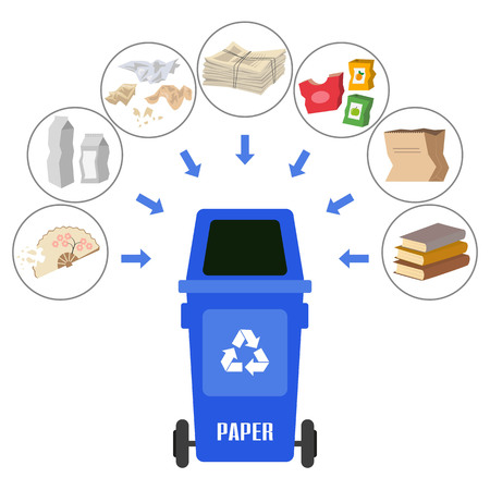 Container with paper trash on white background. Ecology and recycle concept. Vector Illustration.