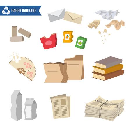Basura de papel sobre fondo blanco. Concepto de ecología y reciclaje. Ilustración vectorial