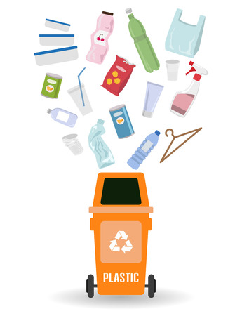 Container with plastic trash on white background. Ecology and recycle concept. Vector Illustration.