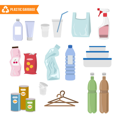 Plastic trash on white background. Ecology and recycle concept. Vector Illustration. Vectores