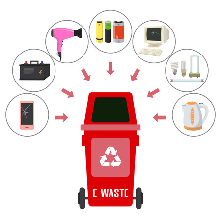 Container with E-waste trash on white background. Ecology and recycle concept. Vector Illustration.