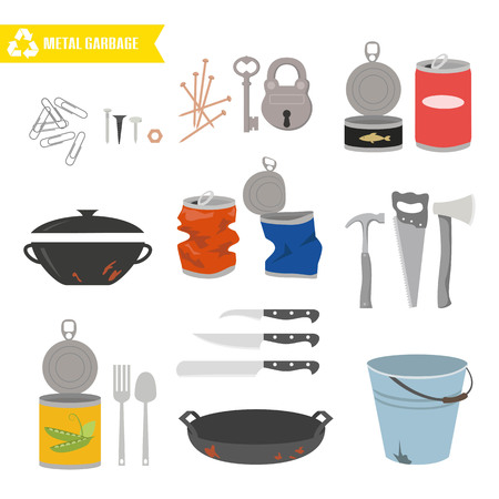 Metal trash on white background. Ecology and recycle concept. Vector Illustration.