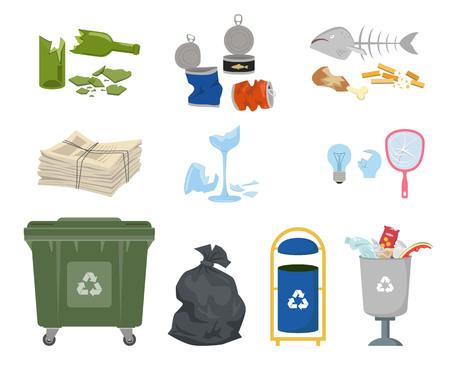 Poubelles et poubelle sur fond blanc. écologie et recycler le concept . illustration vectorielle Banque d'images - 98087679