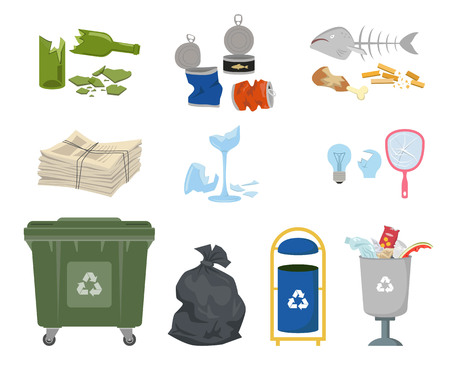 Garbage cans and trash on white background. Ecology and recycle concept. Vector illustration.
