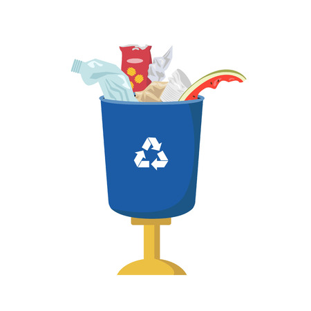 Garbage can be full of trash on white background, ecology and recycle concept illustration. Ilustração