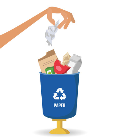 Man throws garbage into paper container on white background, ecology and recycle concept illustration.