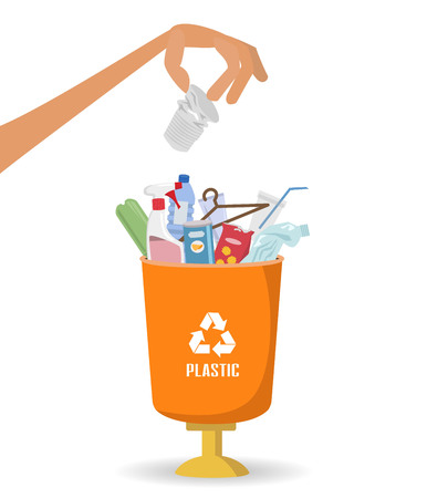 Man throws garbage into a plastic container on white background. Ecology and recycle concept. Vector illustration. Stock Illustratie