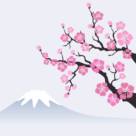 Sakura blossom on mountain landscape. Vector Illustration. Çizim
