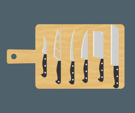 Kitchen knife set on cutting board. Vector illustration.