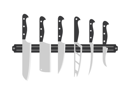Kitchen knife set on white background. Vector illustration.