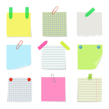 Set of various notes papers. Vector illustration.