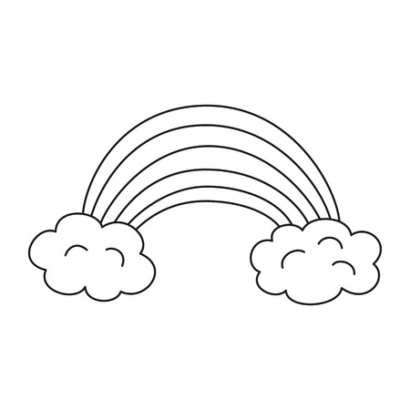 Illustration with rainbow for coloring book. Vector illustration.