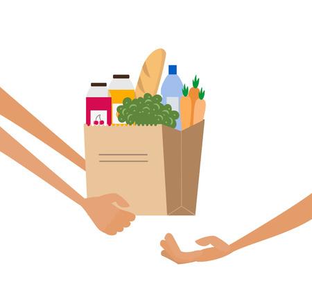 Concetto di servizio di consegna di generi alimentari con sacco di carta pieno di cibo. Illustrazione vettoriale Vettoriali