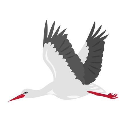 Cartoon stork icon on white background. Vector illustration. Vectores