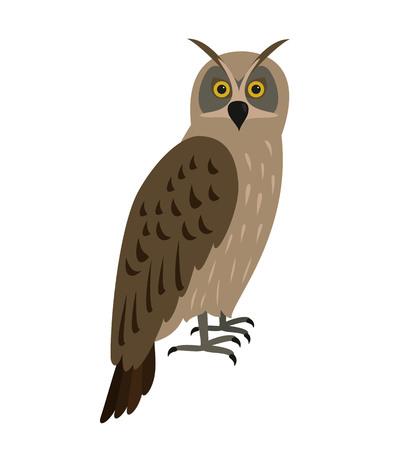 Eagle-owl bird icon on white background. Vector illustration. Illustration
