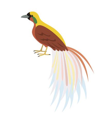 Cartoon Bird of Paradise icon on white background. Vector illustration.
