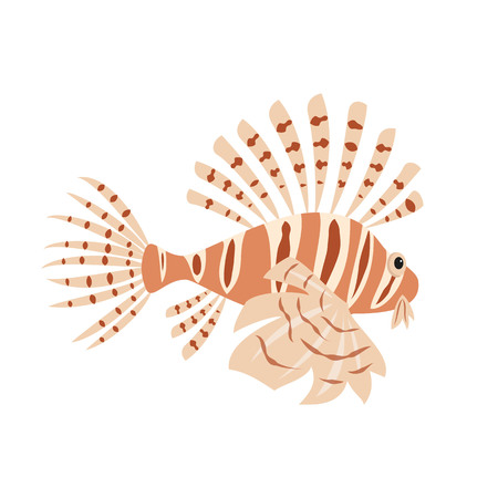 Tropical lion fish on white background. Vector illustration.