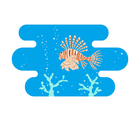Tropical lionfishes on blue background. Vector illustration.
