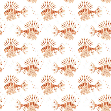 Seamless pattern with tropical lionfishes on white background. Vector illustration.