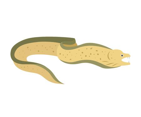 Moray eel on white background. Vector illustration. Stock Illustratie