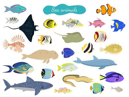 Set of cartoon sea animals on white background. Vector illustration.