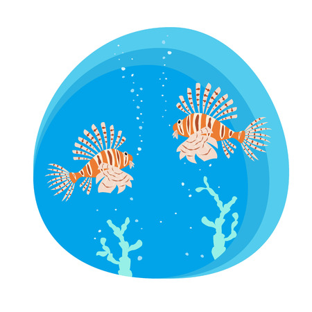 Tropical lionfishes on blue background. Vector illustration. Stock Vector - 101684720
