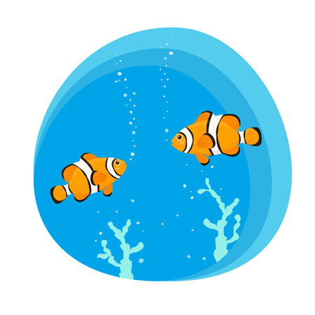 Cute clown fishes on blue background. Vector illustration. Illustration