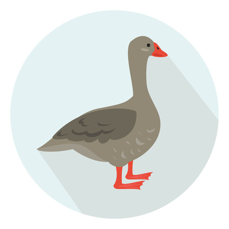 Cartoon goose icon on blue background. Vector illustration.