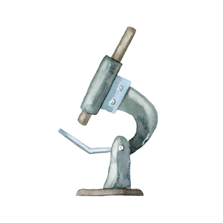 The microscope on white background. Hand drawn watercolor illustration.