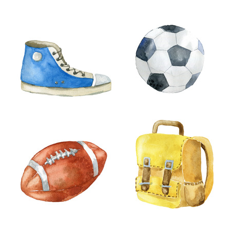 Set of school and sport items on white background. Hand drawn watercolor illustration.