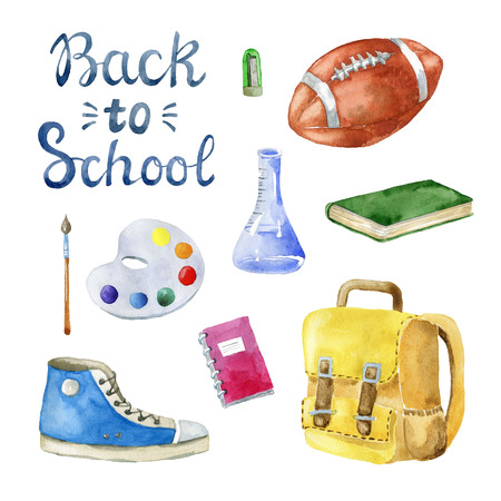 Set of school items on white background. Hand drawn watercolor illustration. 版權商用圖片