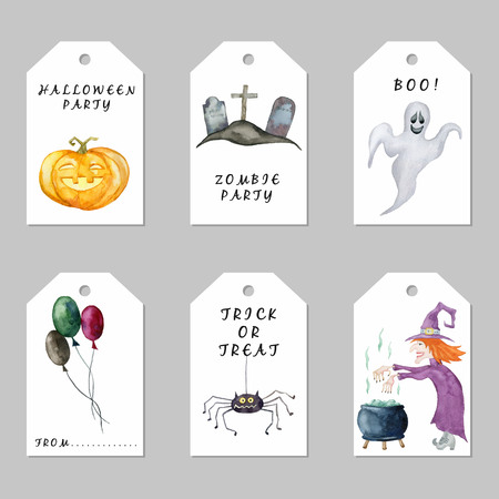 Set of Halloween tags. Hand drawn watercolor illustration.