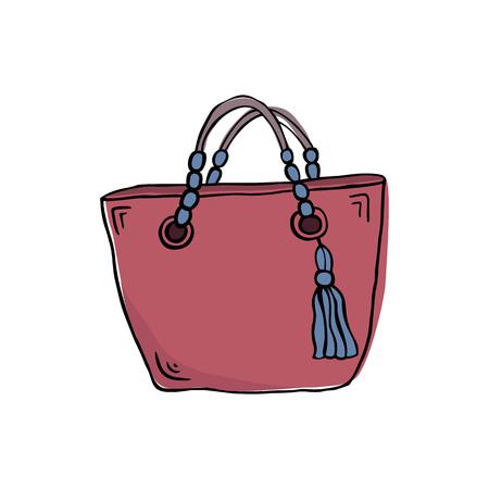 Sketch bag on white background. Vector Illustration.