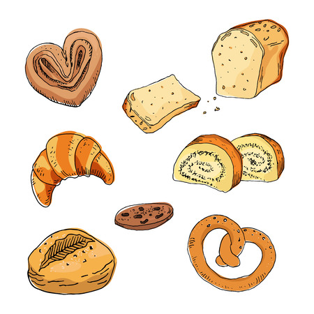 Sketch bakery products on white background. Vector Illustration.