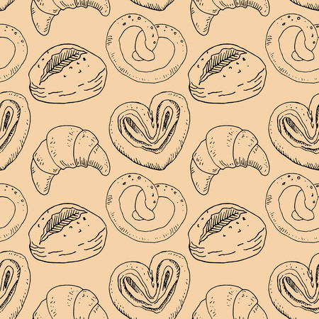 Seamless pattern with bakery products. Vector illustration. Ilustracja