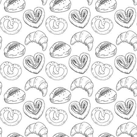Seamless pattern with bakery products. Vector illustration.  イラスト・ベクター素材