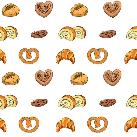 Seamless pattern with bakery products. Vector illustration. Ilustração