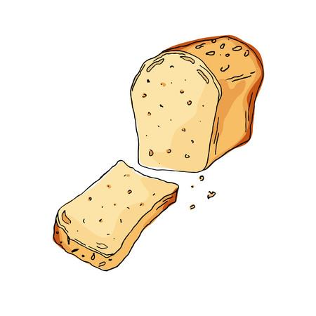 Sketch bread on white background. Vector Illustration. Ilustracja