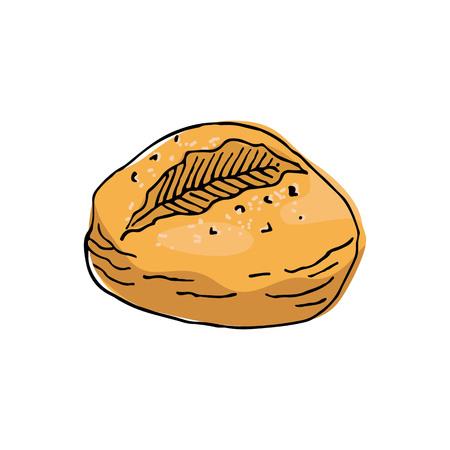 Sketch bun on white background. Vector Illustration.