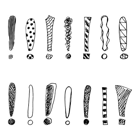 Set of grunge sketch exclamation marks. Vector illustration. Illustration