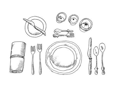 Skizzieren Sie die Tabelleneinstellung auf weißem Hintergrund. Vektorillustration.
