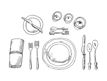 Sketch table setting on white background. Vector illustration.
