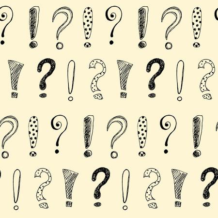 Modèle sans couture avec points d'exclamation dessinés à la main et point d'interrogation. Illustration vectorielle.