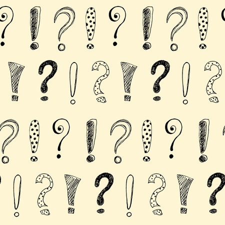 Seamless pattern with hand drawn exclamation marks and question mark. Vector illustration.