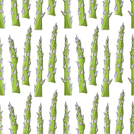 Seamless pattern with asparagus on white background. Vector illustration.