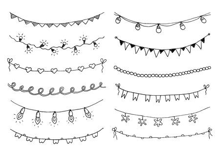 Set di ghirlande di schizzo disegnato a mano con bandiere e lampadine. Illustrazione vettoriale.